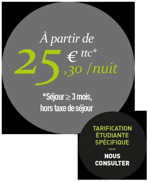 À partir de 25,30€ ttc par nuit